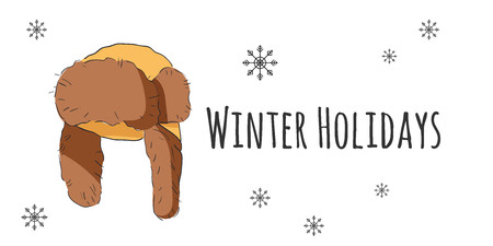 Vector set of isolated winter accessories. Color sketch. Winter Holidays