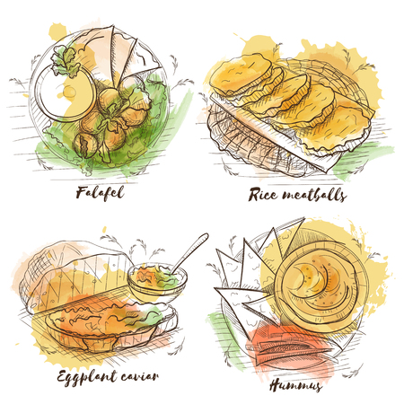 Watercolor vegetarian dish for decoration design. Sketch vector watercolor background. Traditional veggie food. Rice meatballs, eggplant caviar, falafel and hummus.