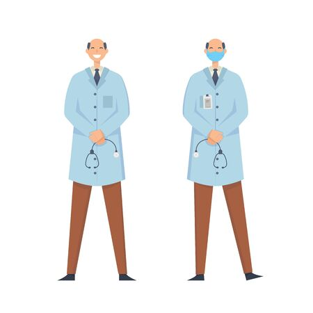 Doctors without mask and in mask. Medical workers on a white background. Hospital staff. Vector illustration in a flat style.