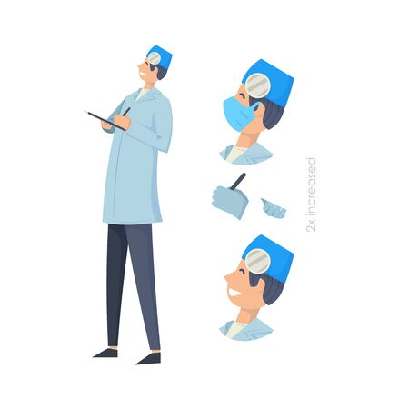Doctors without mask and in mask. Medical workers on a white. Hospital staff. Otolaryngologist. Vector illustration in a flat style. Trendy people.