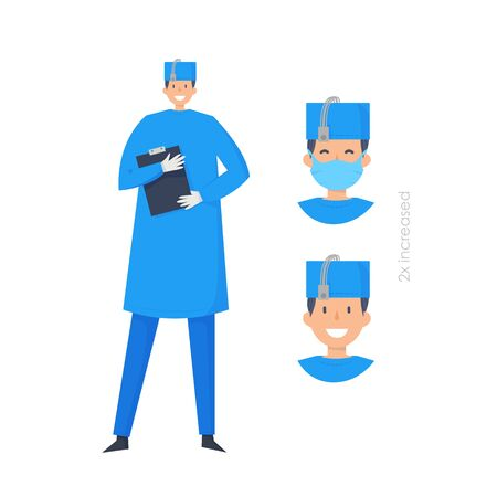 Doctors without mask and in mask. Medical workers on a white. Hospital staff. Surgeon. Vector illustration in a flat style. Trendy people.