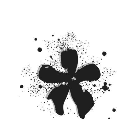 Vector graffiti element star sprayed with leak in black over white. Design street art.