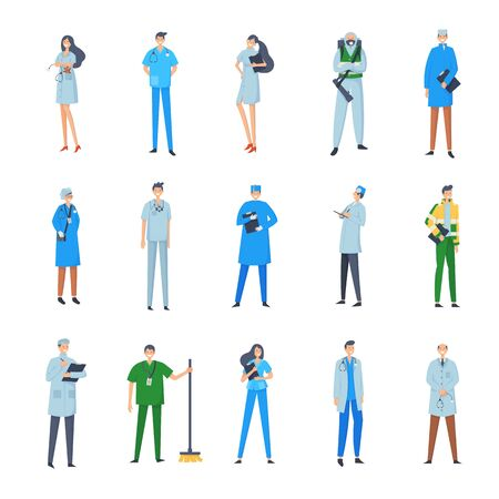 Big set of medical people. Group of male and female cartoon characters in hospital. Vector illustration in a flat style. Trendy people.