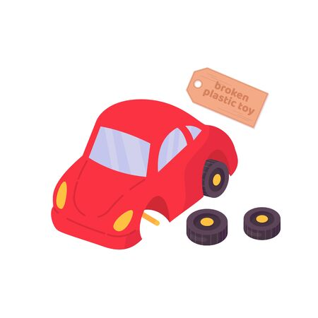 Broken plastic toy red car. Vector cartoon flat illustration isolated on white. 向量圖像