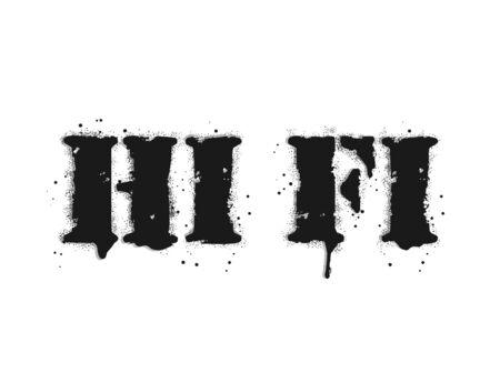 Hi fi lettering. Graffiti lettering on white. Lettering sprayed with leak in black over white. Vector design street art. Vettoriali
