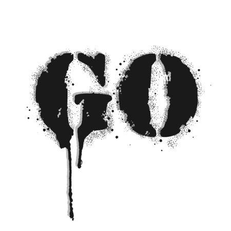 Go lettering. Graffiti lettering on white. Lettering sprayed with leak in black over white. Vector design street art. Vettoriali