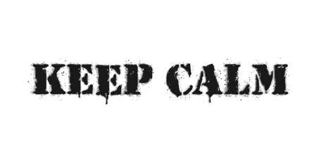 Keep calm lettering. Graffiti lettering on white. Lettering sprayed with leak in black over white. Vector design street art.