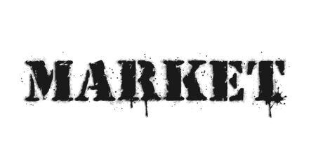 Market lettering. Graffiti lettering on white. Lettering sprayed with leak in black over white. Vector design street art.