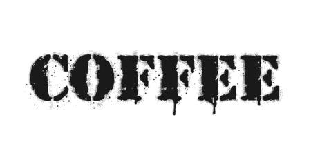 Cofffee lettering. Graffiti lettering on white. Lettering sprayed with leak in black over white. Vector design street art.