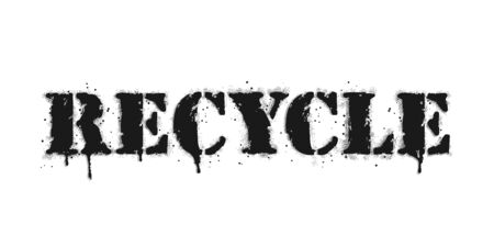 Recycle lettering. Graffiti lettering on white. Lettering sprayed with leak in black over white. Vector design street art. Vectores