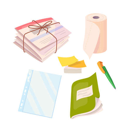 Business set with newspapers, paper towel, stickers, file, notebook and ball pen. Vector cartoon flat illustration isolated on white background. Illustration