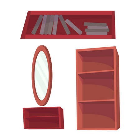 Set with mirror and different types of open cabinets. Vector cartoon flat illustration isolated on white.
