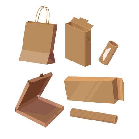 Set with cardboard things. Carton packet, boxes, pizza packaging, rolls. Vector cartoon flat illustration isolated on white. Stock Illustratie