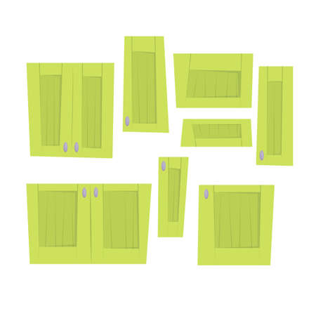 Set of different size green lockers. Interior design. Vector cartoon flat illustration isolated on white.