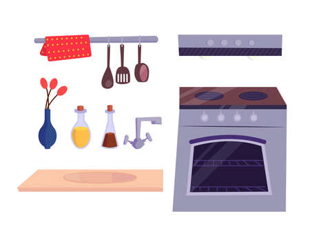 Kitchen stuff set. Kitchen stove, cooker hood, faucet, vase with red flower, spoon, decorative bottles and tabletop. Vector cartoon flat illustration isolated on white.