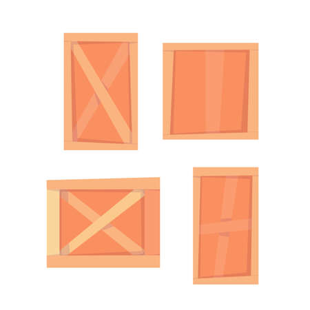 Set of different wood boxes. Vector cartoon flat illustration isolated on white background. Illustration