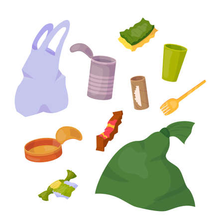 Set with garbage objects. Vector cartoon flat illustration isolated on white background. Stock Illustratie
