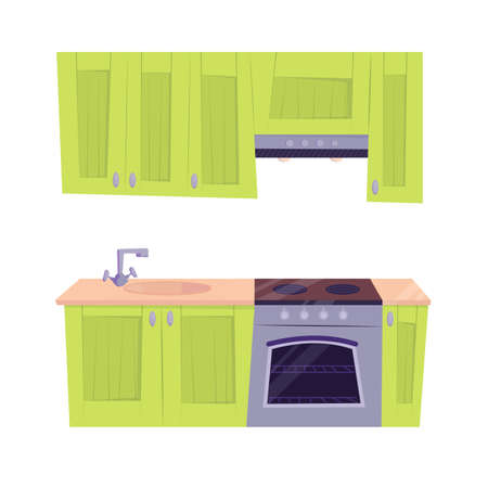 Green kitchen set with oven and sink. Vector cartoon flat illustration isolated on white background.