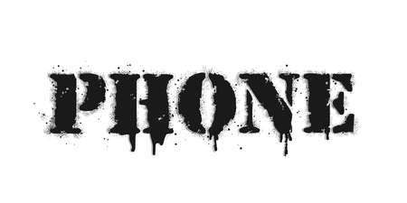Phone lettering. Vector graffiti lettering on white. Lettering sprayed with leak in black over white. Vector design street art.