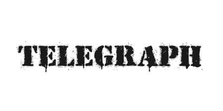 Telegraph lettering. Vector graffiti lettering on white. Lettering sprayed with leak in black over white. Vector design street art.