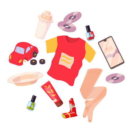 Set with different stuff. Broken toy, t-shirt, plate, smartphone, lipstick, CD disk, nail polish, water filter, tights. Vector cartoon flat illustration isolated on white background.