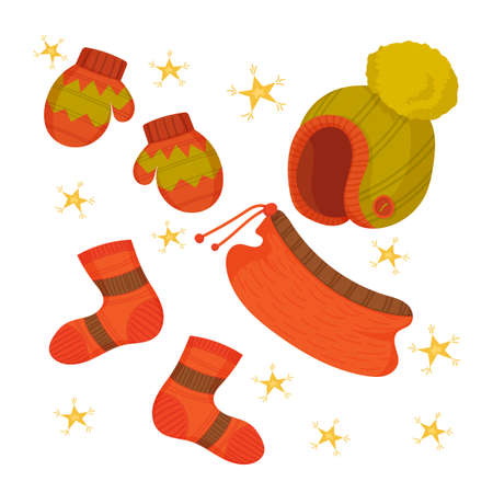 Winter set with red and green hat, mittens, socks, scarf and yellow stars. Christmas cute decor, clothes. Vector cartoon flat illustration isolated on white.