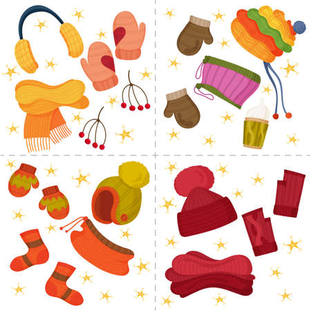 Winter set with colorful mittens, hats, socks, christmas decor and yellow stars. Christmas cute decor, clothes. Vector cartoon flat illustration isolated on white.