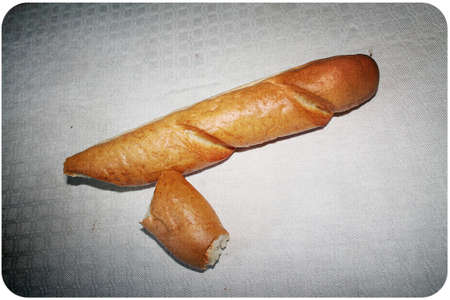 isoleted: white bread, baguette isoleted on  white