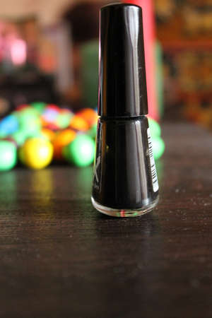 black colour vanish in bottle for polish nails Editorial