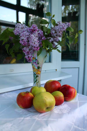 purpule: bouquet of garden violet lilac on the table with hill of red juicy apples