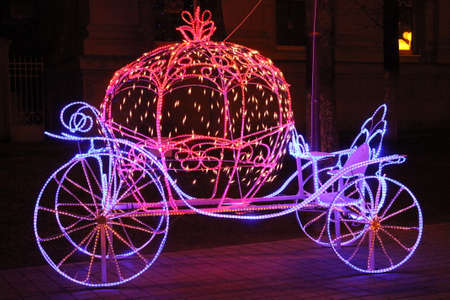 beautiful cinderella: beautiful Cinderella carriage install for decoration on city night street