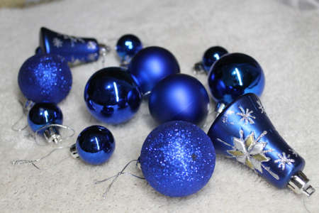 blue shine balls and bells decoration for winter holidays New Year and Christmas photo