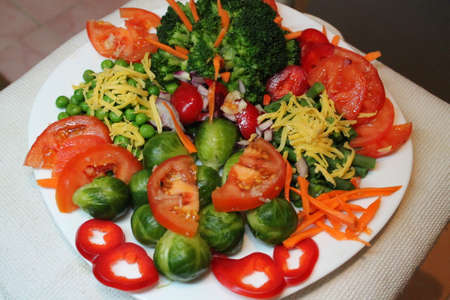 gaily: appetizing vitamin fresh vegetarian colorful salad on plate