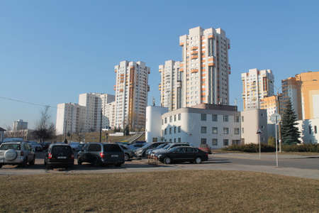 deatil: panorama of Minsk city modern new region in spring day