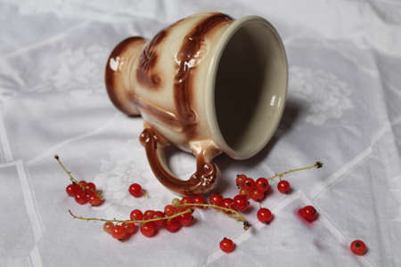 empty porcelain cup made in greek style with ripe red juicy currant berry