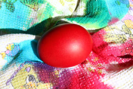 bright red color boiled egg traditional on Easter holiday symbol belief