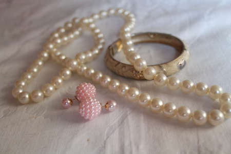 beautiful accessories from pure pearl beads, earrings and bracelet for decoration and gift
