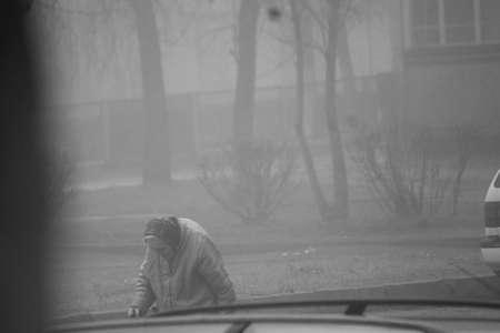 sad dark covered mist autumn morning