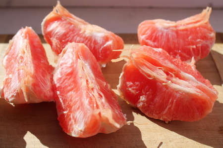 Slices of sweet ripe grapefruit