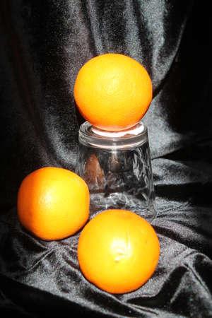 Orange sweet fruit in glass