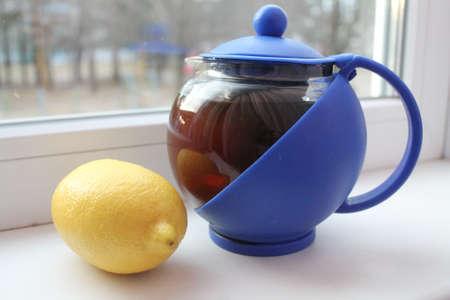 green tea with lemon nice flu medicine 写真素材