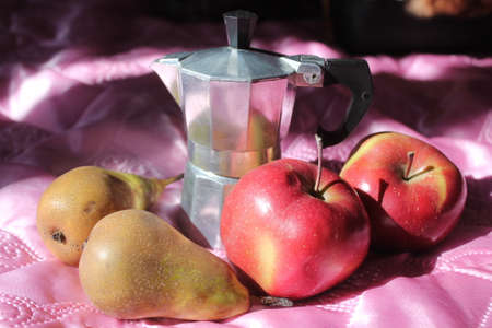 morning coffee with fruits 写真素材