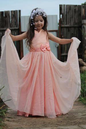 dancing girl in wedding dress