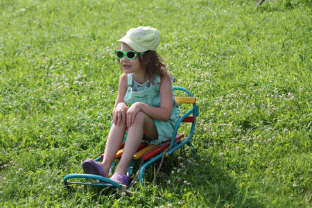 little girl on slide on the green grass