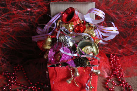 sparks, bells, toys, tinsel, wineglasses, clocks, ribbons and sweets all for decoration on Christmas and New Year holiday