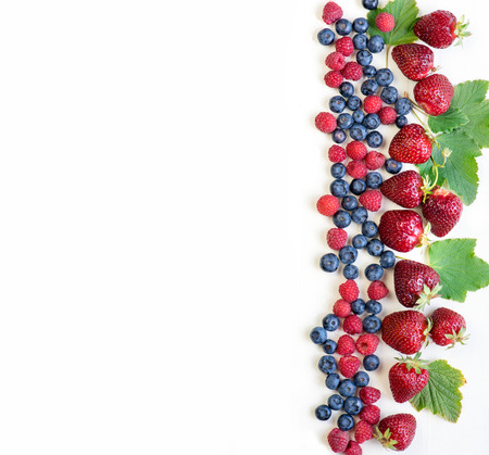 The berries are arranged in a line on the right. We have white background.