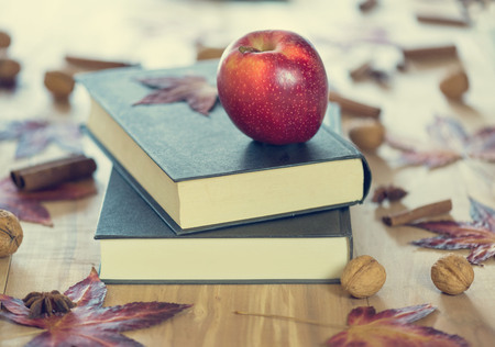 Red apple on black writing-books. Autumn theme. Back to school.