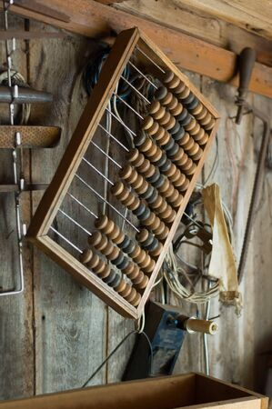 Wooden abacus hanging on the wall in the workshop