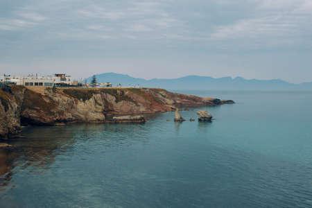 Tyrrhenian sea coast, Terrasini, Palermo, Italy 版權商用圖片