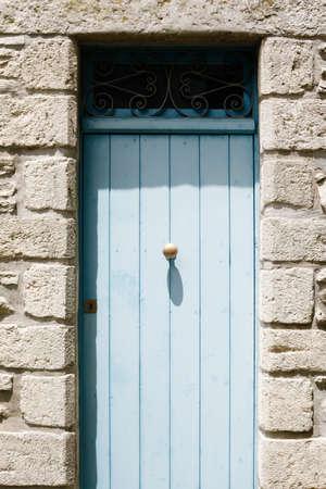 The wooden blue door in Erice, Terrasini, Sicily, Italy Standard-Bild